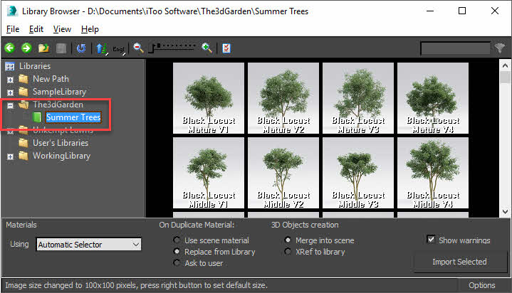 Installing The3dGarden plant collections - Forest Pack Help